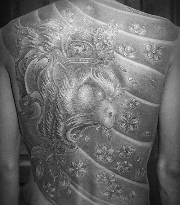 Roaring Monkey King Mens Japanese Full Back Tattoos