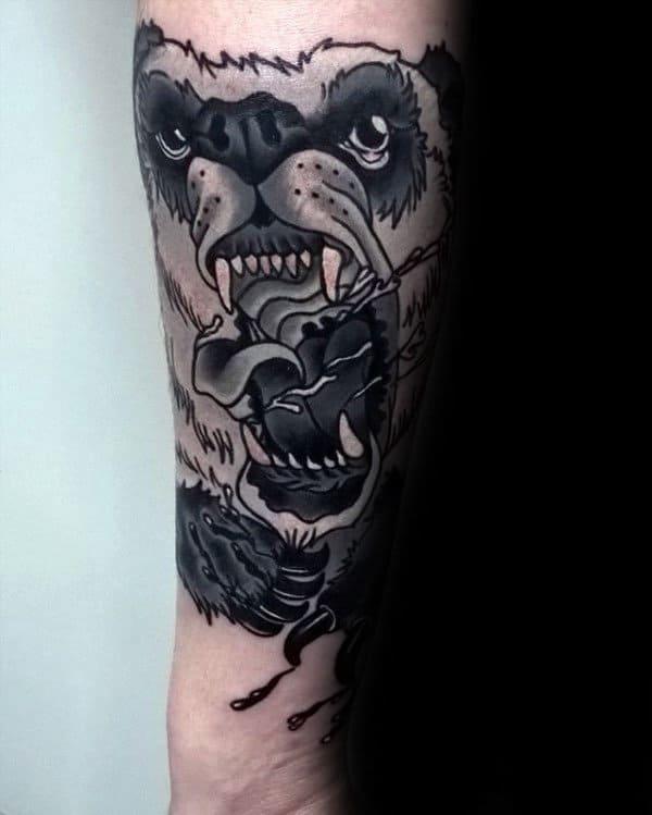 Roaring Panda Bear Mens Outer Forearm Tattoo Designs