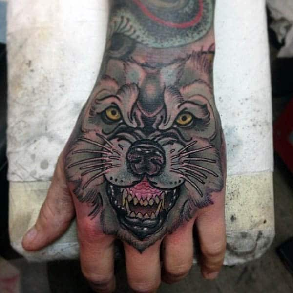 Roaring Realistic Animal Neo Traditional Tattoo Guys Hands