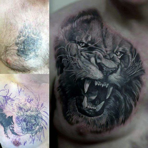 Roaring Tiger Head Guys Cover Up Upper Chest Tattoos