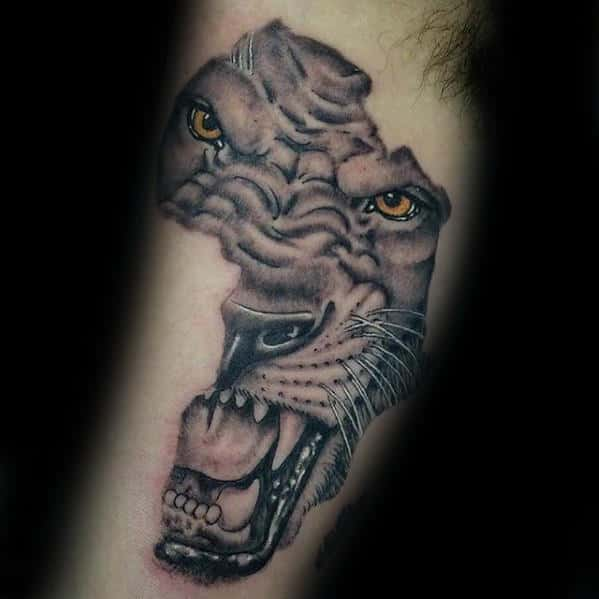 Roaring Tiger Male Africa Inner Arm Bicep Tattoo Inspiration