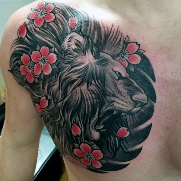 Roaring Tighter Cherry Blossom Chest Male Tattoos