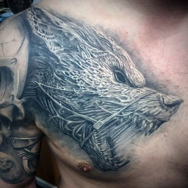 Roaring Wolf Guys 3d Upper Chest Tattoo Designs