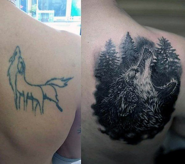 Roaring Wolf Shoulder Blade Mens Tattoo Cover Up Ideas