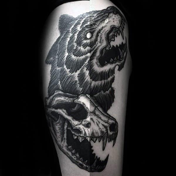 Roaring Wolf Skull Male Thigh Tattoos