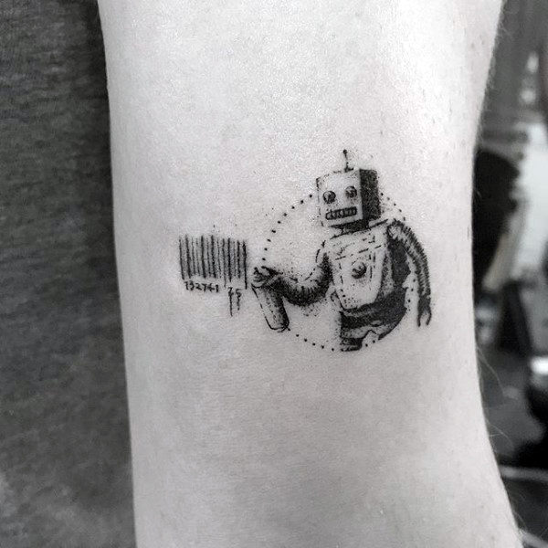 Robot Bar Code Male Banksy Small Tattoo