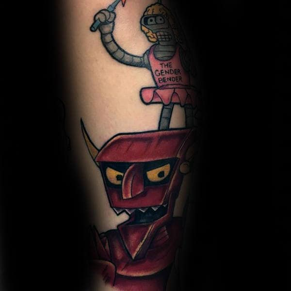 Robot Devil With Bender Futurama Tattoos For Males
