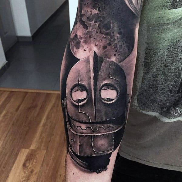 Robot Inner Forearm Male Tatoo Design Ideas