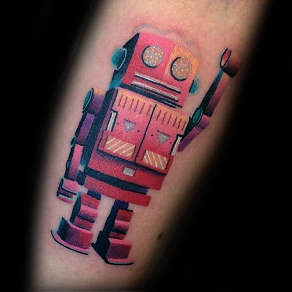 Robot Modern Colorful Tattoos For Males