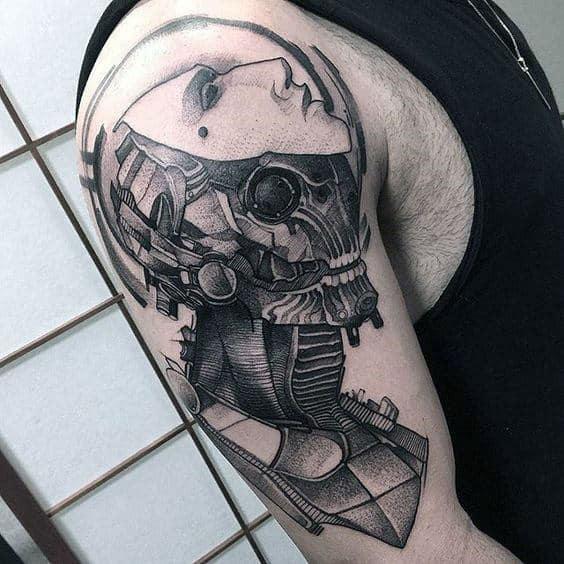 Robot Pointillism Mens Arm Tattoos