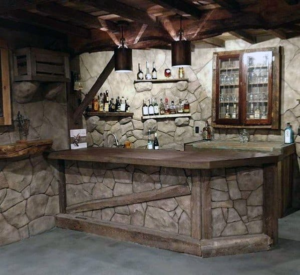 Rock And Stone Bar Rustic Basement Man Cave Design