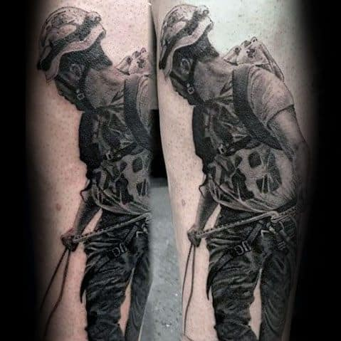 Rock Climbing 3d Forearm Tattoo Ideas For Males