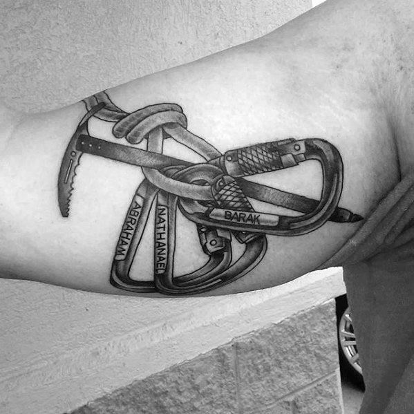 Rock Climbing Tattoo Designs For Guys On Inner Arm Bicep