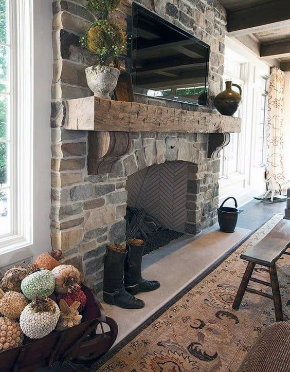 Rock Fireplace Mantel Design