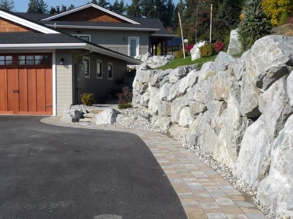 Rock Wall Driveway Edging Ideas