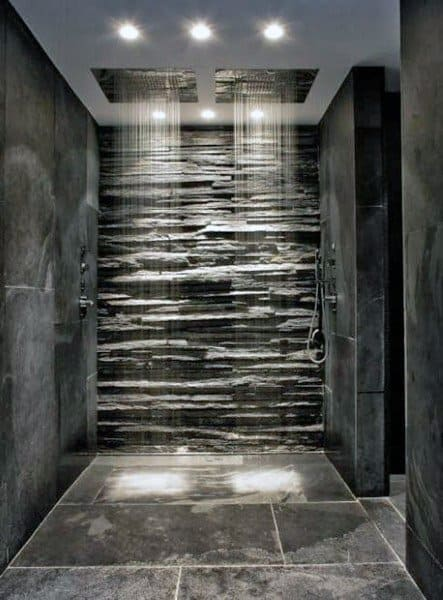 Rock Wall Natural Stone Tile Cool Showers Ideas