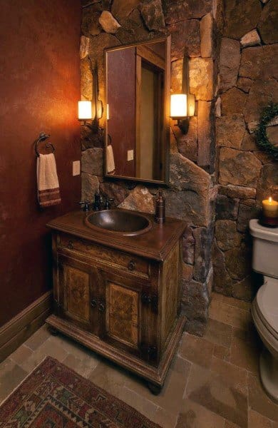 Rock Wall Rustic Half Bath Ideas
