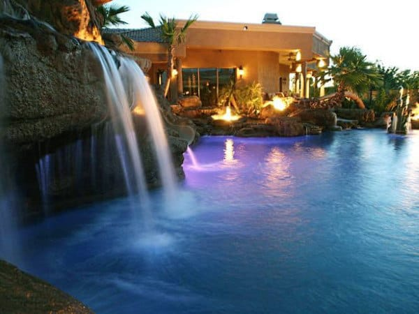 Rock Waterfall Home Swimming Pool Resort Style Inspiration