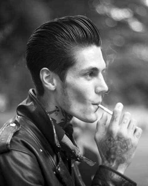 Rockabilly Slicked Back Mens Hair Style