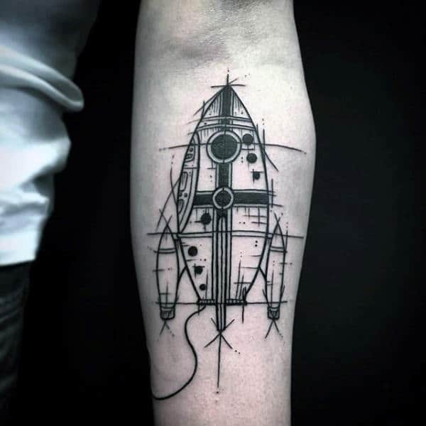 Rocketship Black Ink Artistic Mens Inner Forearm Tattoo