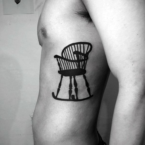Rocking Chair Mens Side Of Chest Simple Tattoo Ideas