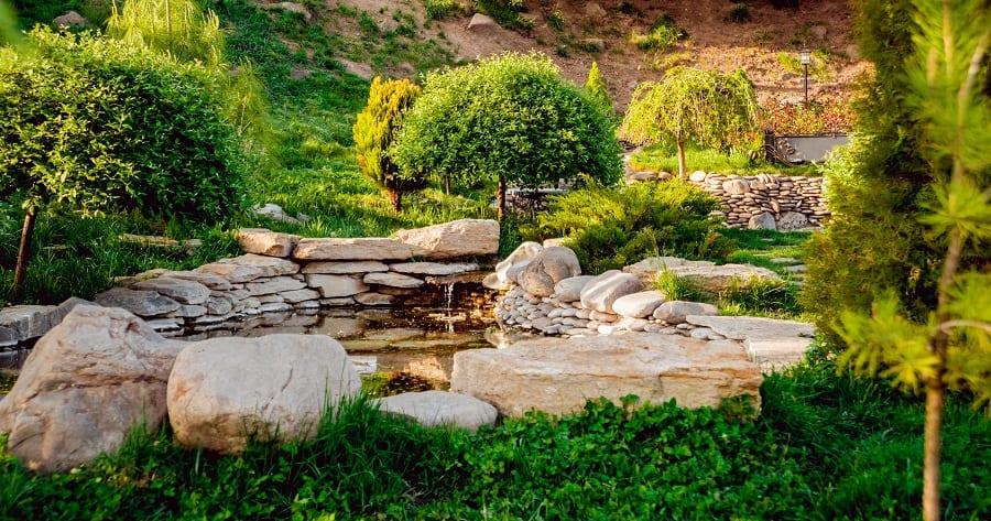 Backyard Wood Deck Walkway Large River Rock Landscaping Ideas