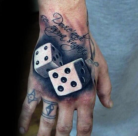 Rolling Dice Male 3d Hand Tattoo