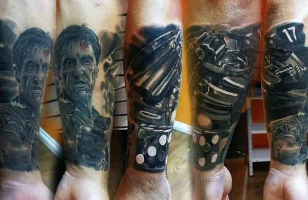Rolling Dice Scarface Mens Forearm Sleeve Tattoo Ideas