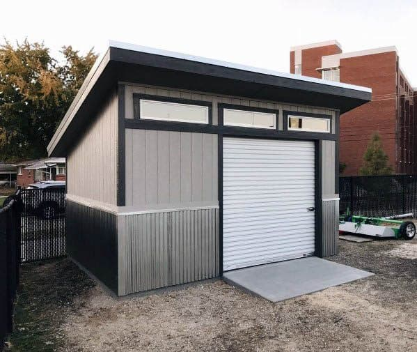 Rolling Metal Door Contemporary Backyard Shed Ideas