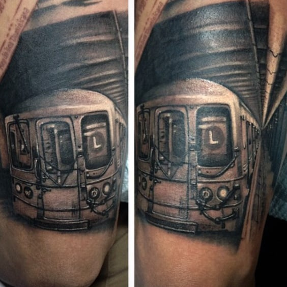 Rolling Train Subway Tattoo Designs For Men