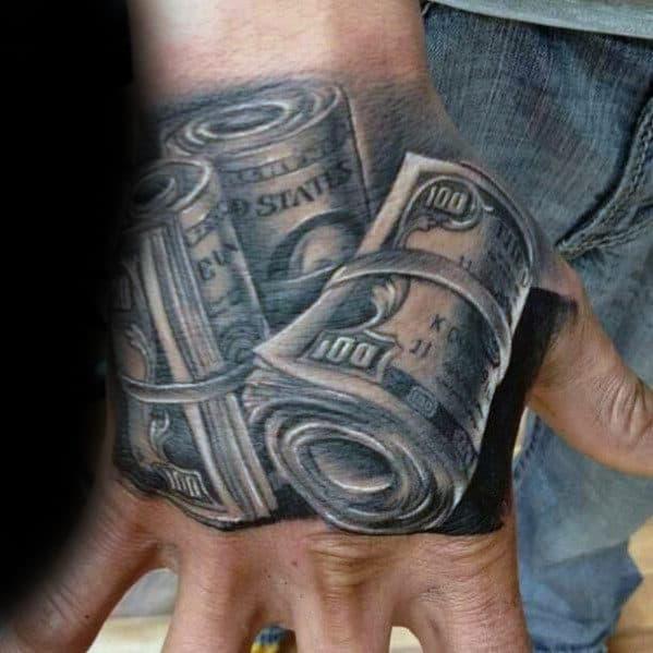 Rolls Of Dollar Bills Mens 3d Hand Tattoo