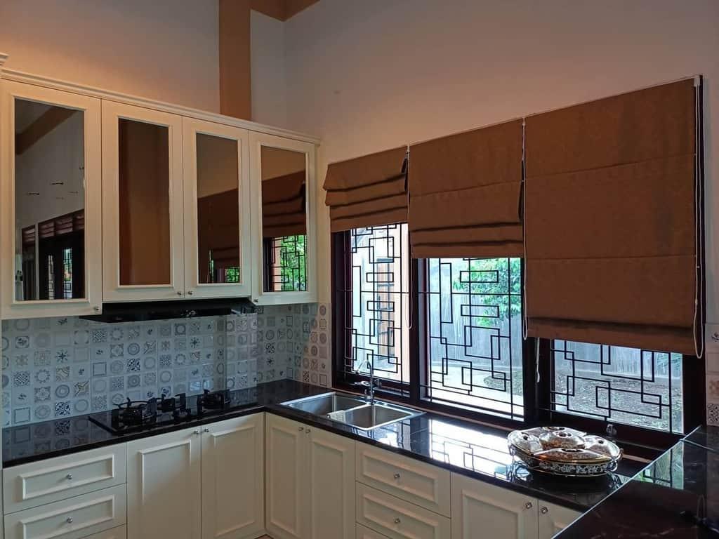 roman Shade kitchen curtain ideas denadeco