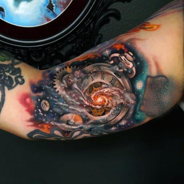 Roman Astronomical Clock Tattoo Male Arms