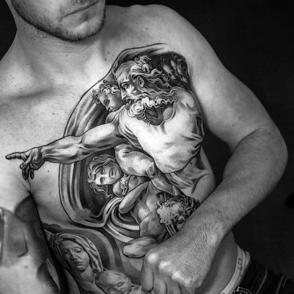 Roman Catholic Guys Religious Themed Virgin Mary Chest Tattoos