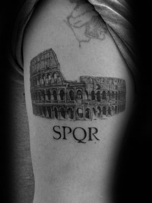 Roman Colosseum Spqr Arm Tattoos For Guys