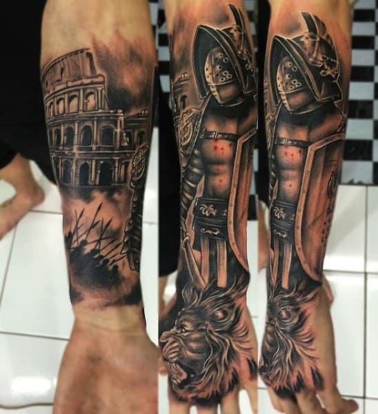 Roman Gladiators Tattoos For Men