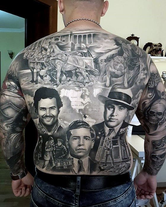 Roman Guys Badass Full Back Tattoo Ideas