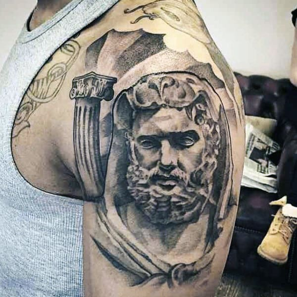 Roman Guys Hercules Upper Arm Tattoo Design Inspiration