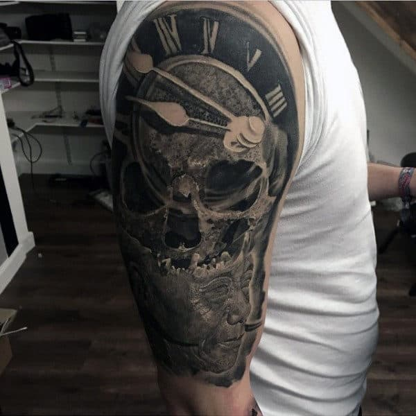 Roman Numeral Clock Detailed Skull Guys Half Sleeve Tattoos