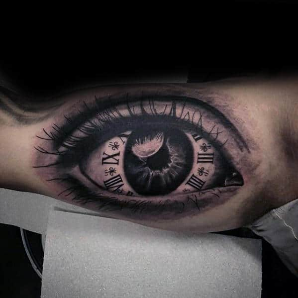 Roman Numeral Clock Eye Mens Realistic Inner Arm Tattoos