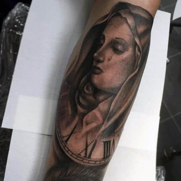 Roman Numeral Clock Mens Virgin Mary Shaded Tattoo Ideas