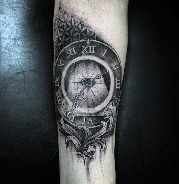 Roman Numeral Clock Orante Male Pyramid Forearm Tattoos