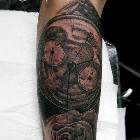 Roman Numeral Clock Tattoo For Men