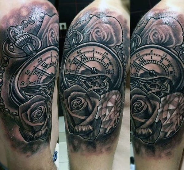 Roman Numeral Clock Tattoos For Men