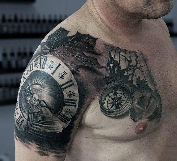 Roman Numeral Clock Unique Arm Quarter Sleeve Tattoos For Men