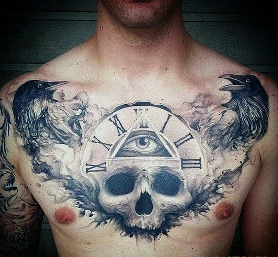 Roman Numeral Clock With All Seeing Eye And Skull Guys Cool Watercolor Chest Tattoo