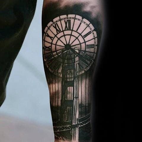 Roman Numeral Clock With Bridge Guys Forearm Sleeve Tattoo