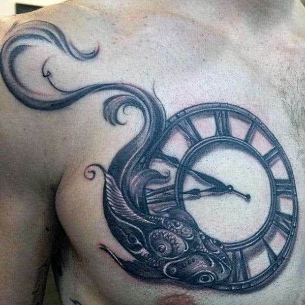 Roman Numeral Clock With Fish Guys Pisces Upper Chest Ornate Tattoos