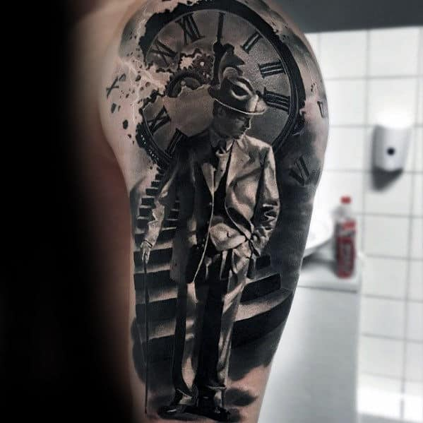Roman Numeral Clock With Man In Suit Hyper Realistic Guys Arm Tattoo