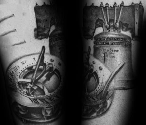 Roman Numeral Sun Dial With Liberty Bell Mens Shaded Tattoos